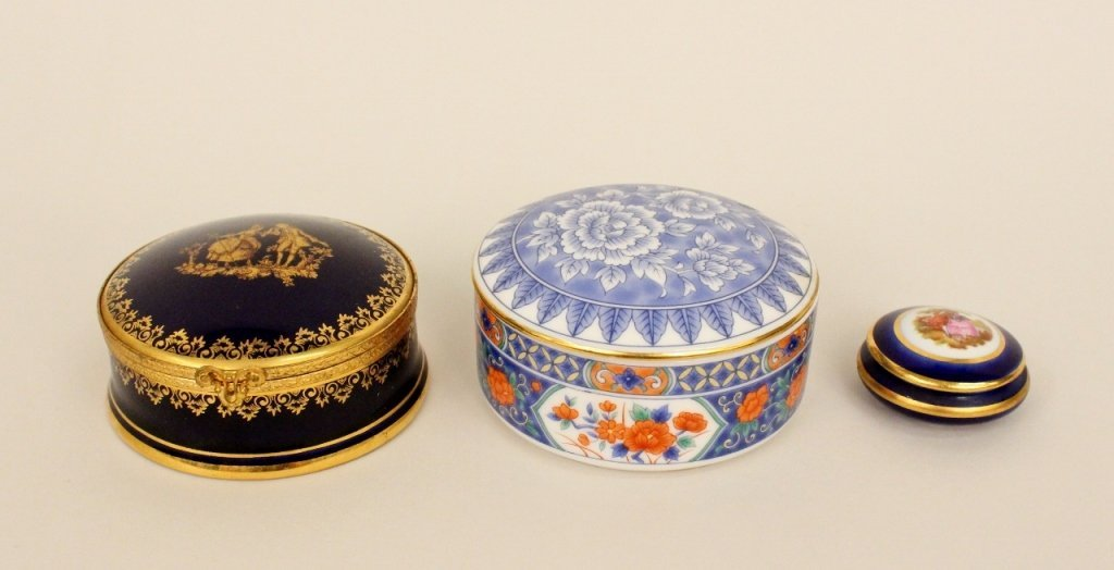 Group of 3 Porcelain Circular Boxes--Tiffany & Lim