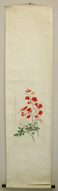 Chinese Hand Painted Floral Scroll