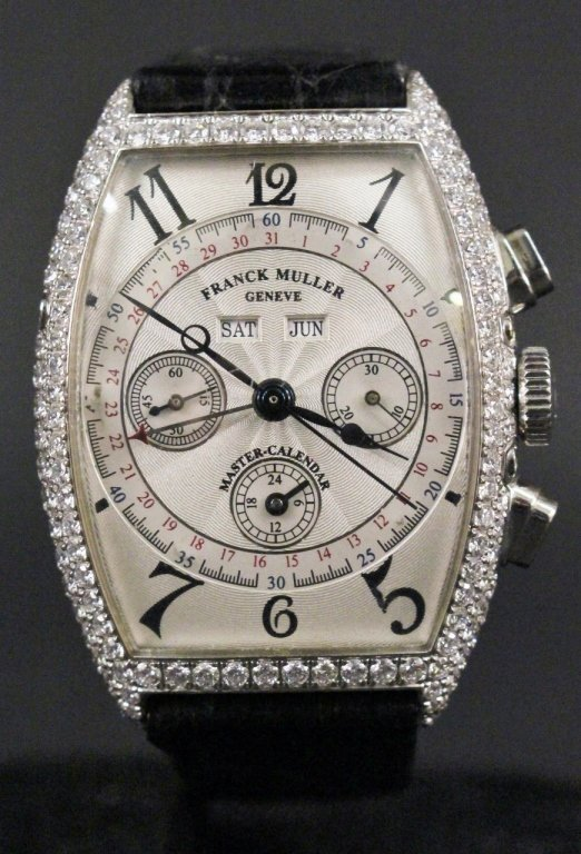 Franck Muller 18k White Gold & Diamond Watch