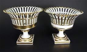 Pair of Old Paris Style Gilt Porcelain Corbeilles