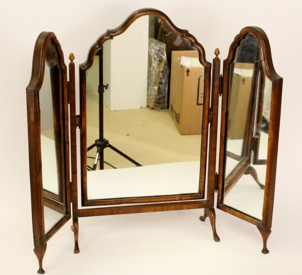 Walnut Tri-fold Dressing Mirror
