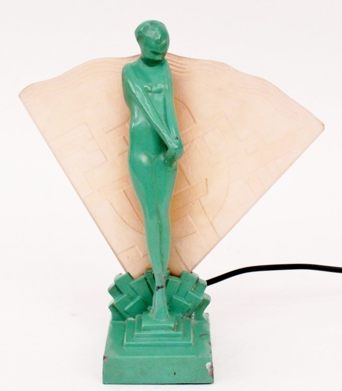 Frankart Figural Lamp with Fan Motif (L225)