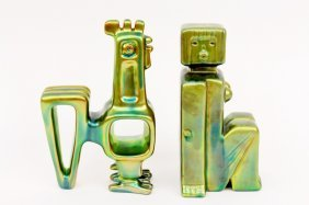 Two Zsolany Iridescent Glazed Pottery Figures