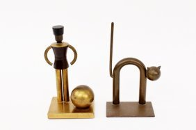 Two Chase Brass Decorative Objects, Bookends