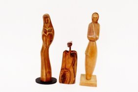 Three Carved Wood Figural Sculptures