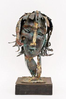 Modern Brutalist Sculptural Bust, Signed