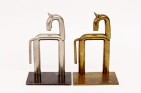 Pair of Nessen for Chase Brass Horse Book Ends