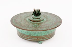 Carl Sorensen Arts & Crafts Bronze Lidded Bowl