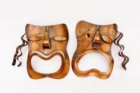 Francisco Rebajes Copper Tragedy & Comedy Masks