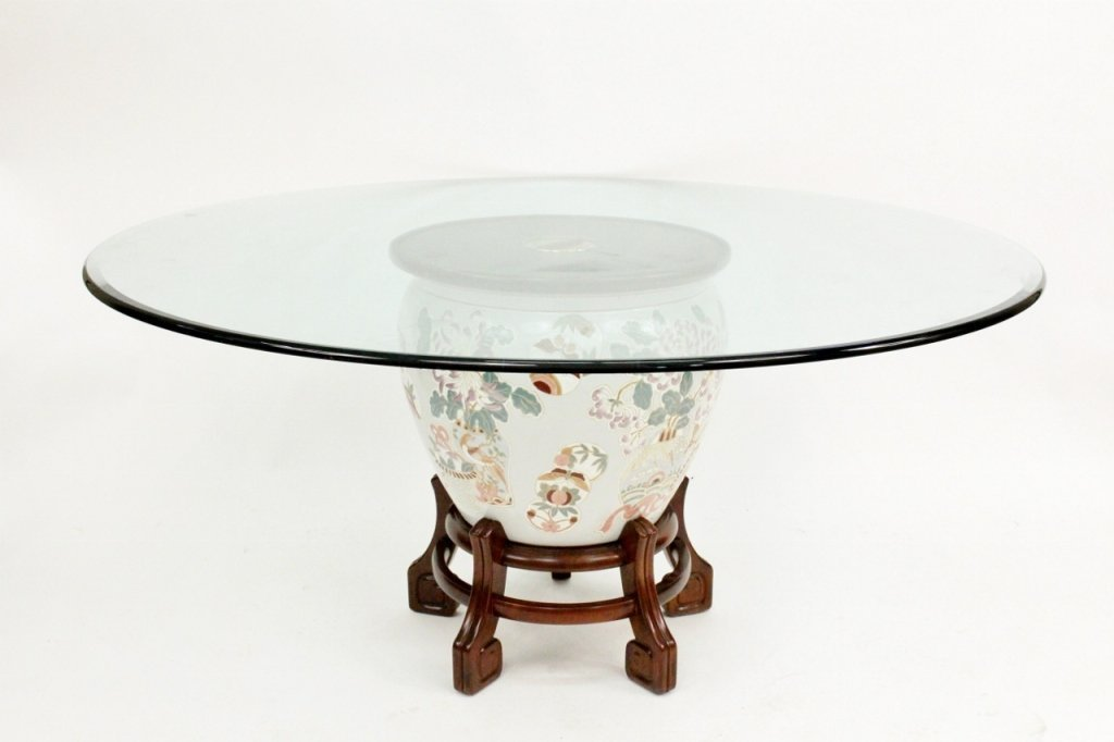Large Round Glass Top Dining Table with Oriental B