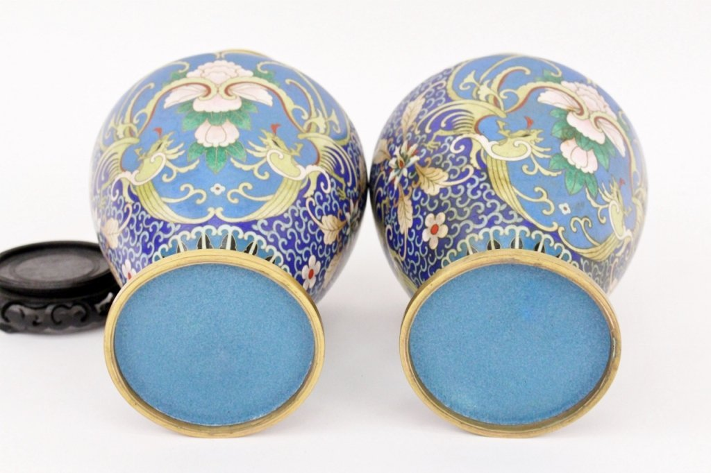 Pair of Chinese Cloisonne Vases - 8