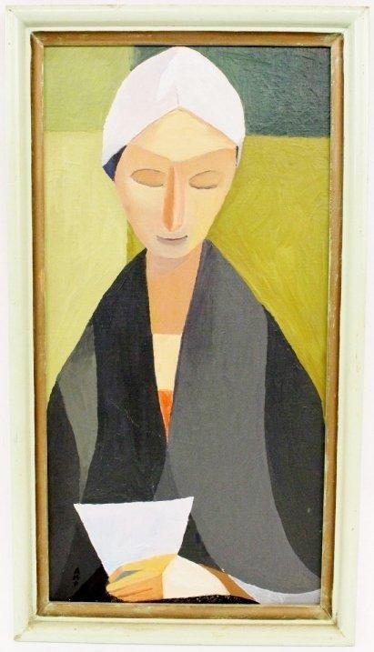 In the Manner of Modigliani Portrait Oil