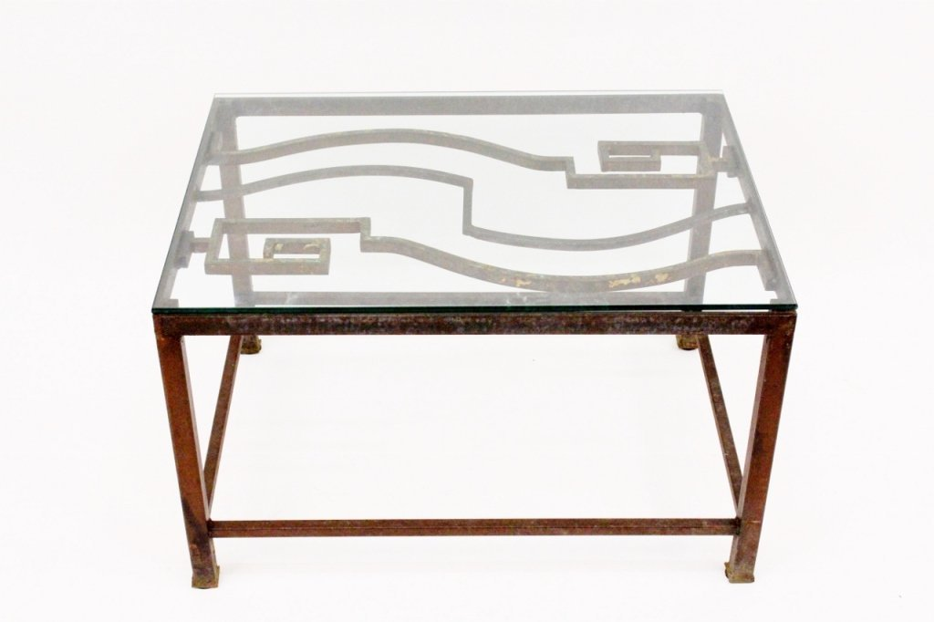 Cast Iron & Glass Top Coffee Table
