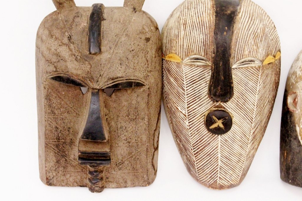 Three Carved Wood African Masks - 2