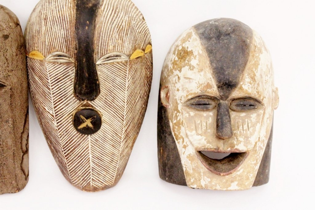 Three Carved Wood African Masks - 3