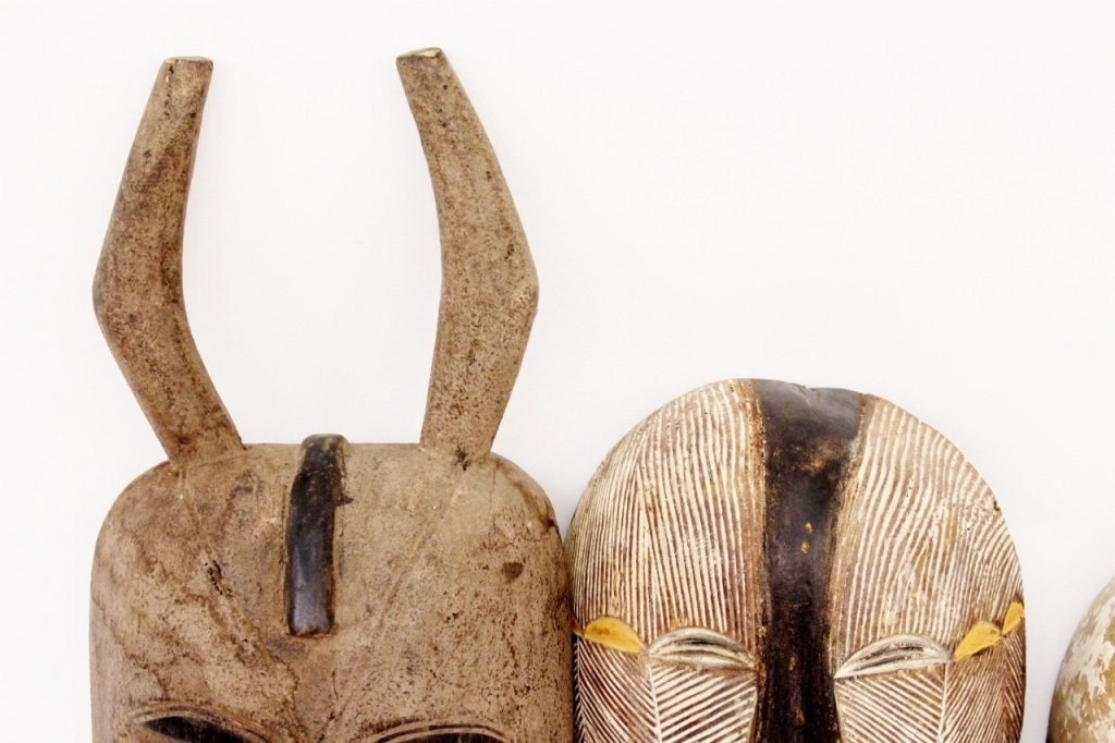 Three Carved Wood African Masks - 4