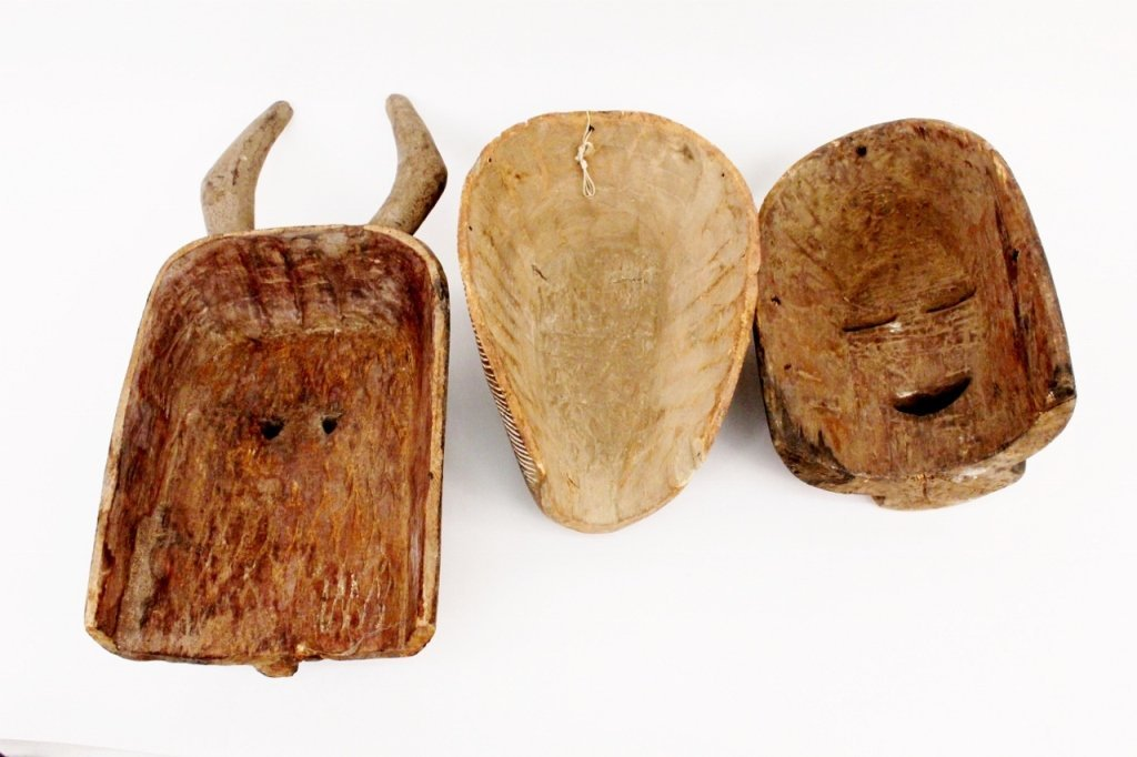 Three Carved Wood African Masks - 5