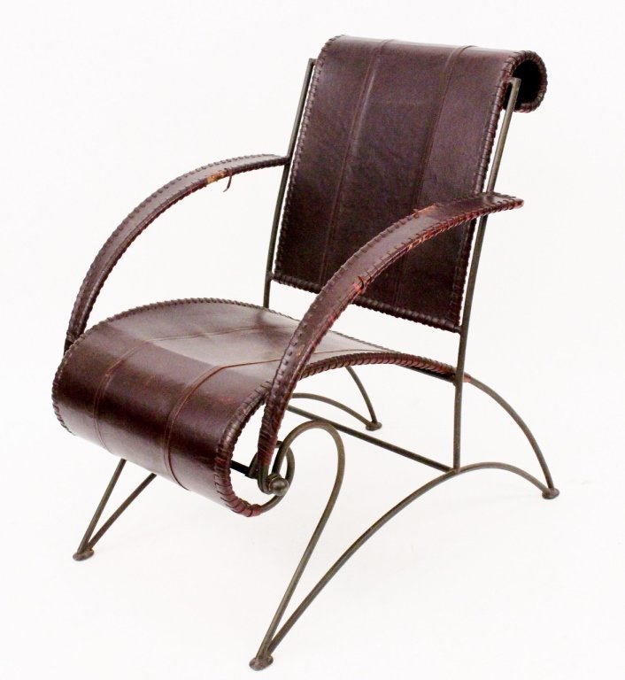 Dark Brown Leather and Iron Armchair
