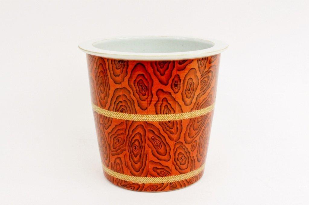 Faux Bois Decorated Porcelain Cache Pot