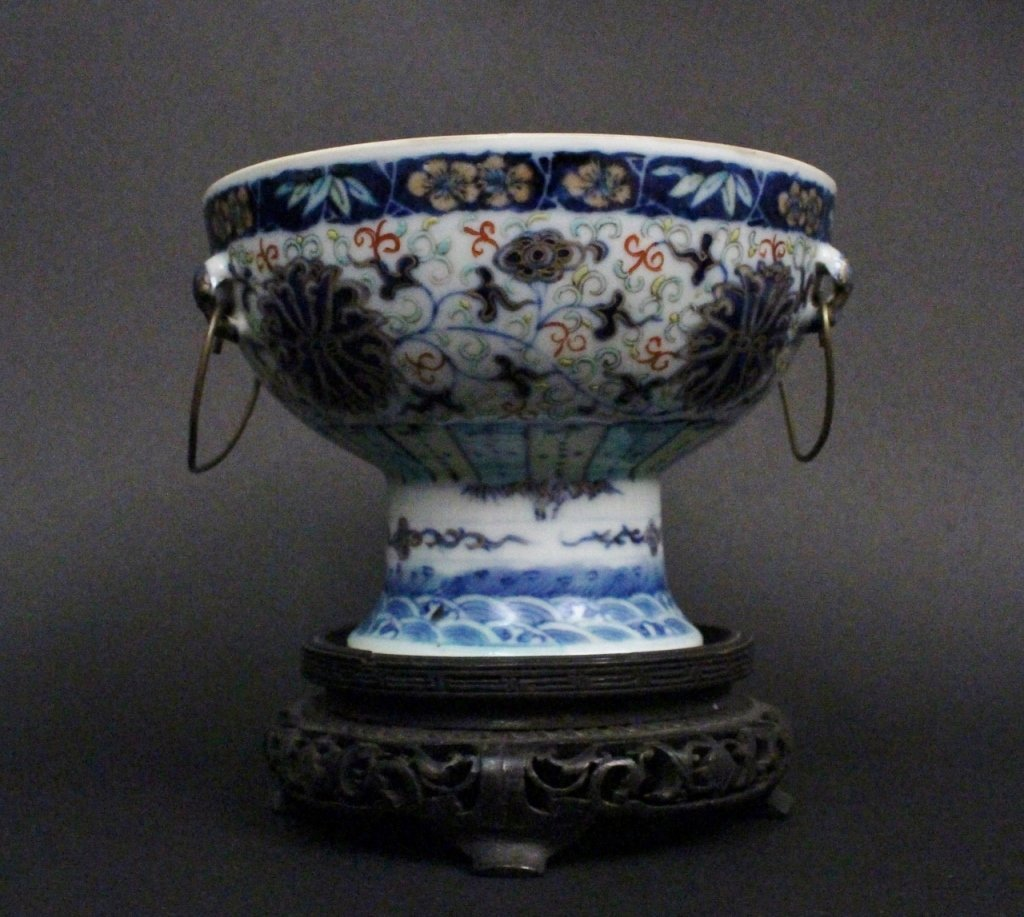 Chinese Doucai Porcelain Handled Compote