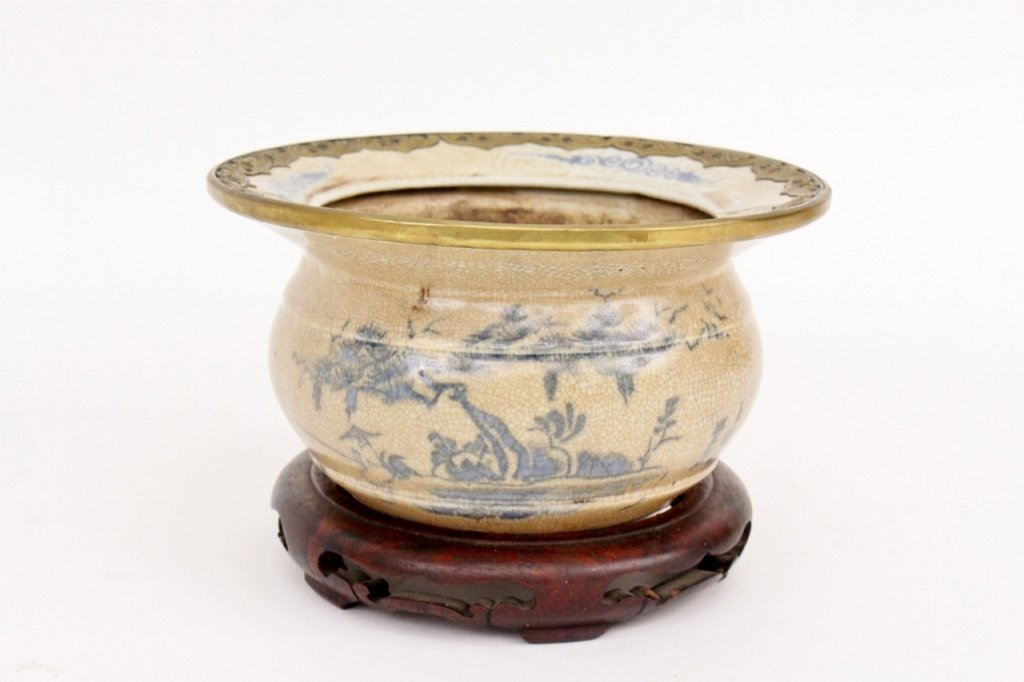 Chinese Porcelain Cache Pot with Brass Rim