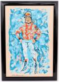 After LeRoy Neiman Oil on Canvas Painting of a Jockey