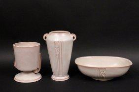 Three Roseville Moderne Pottery Items