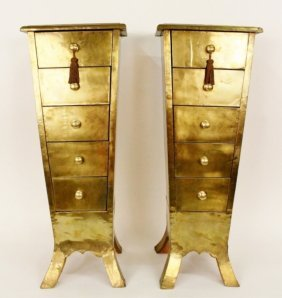 Pair of Brass Covered Lingerie Chests