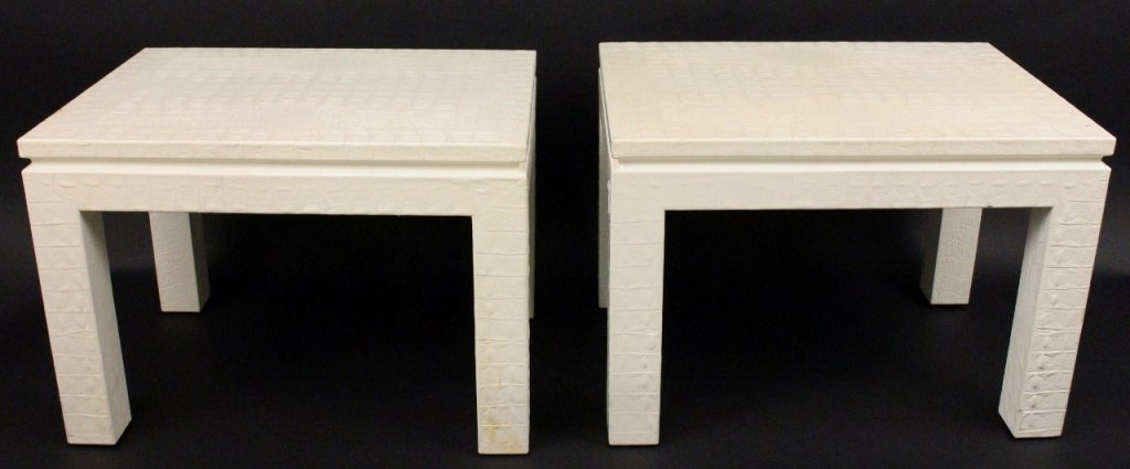 Pair of Off White Alligator Embossed Tables