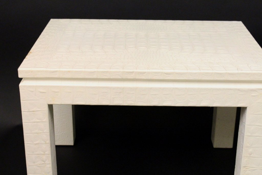Pair of Off White Alligator Embossed Tables - 2