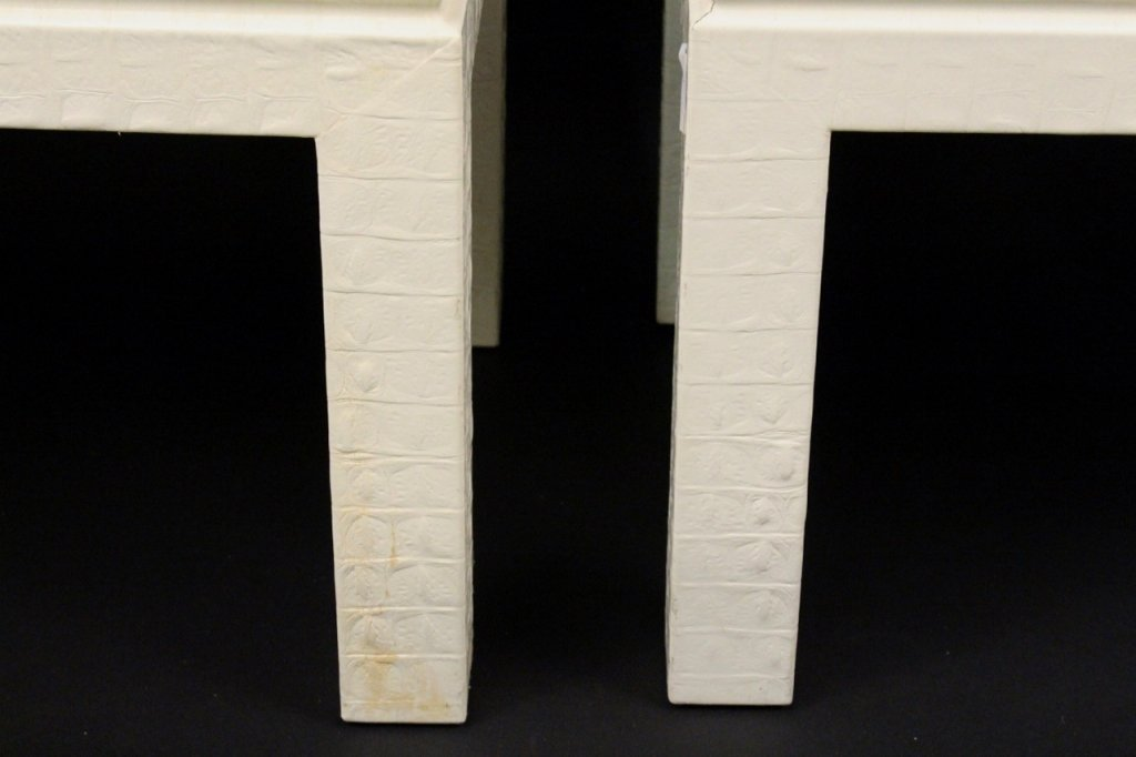 Pair of Off White Alligator Embossed Tables - 3