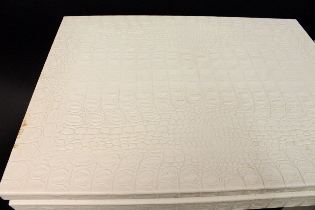 Pair of Off White Alligator Embossed Tables - 4