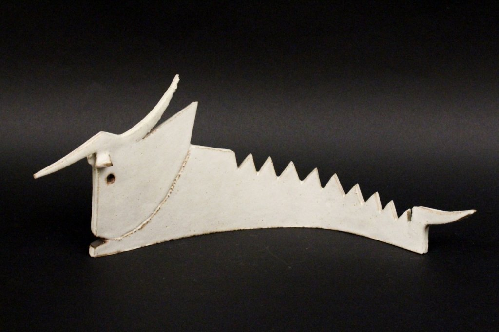 Guido Gambone White Glazed Ceramic Bull