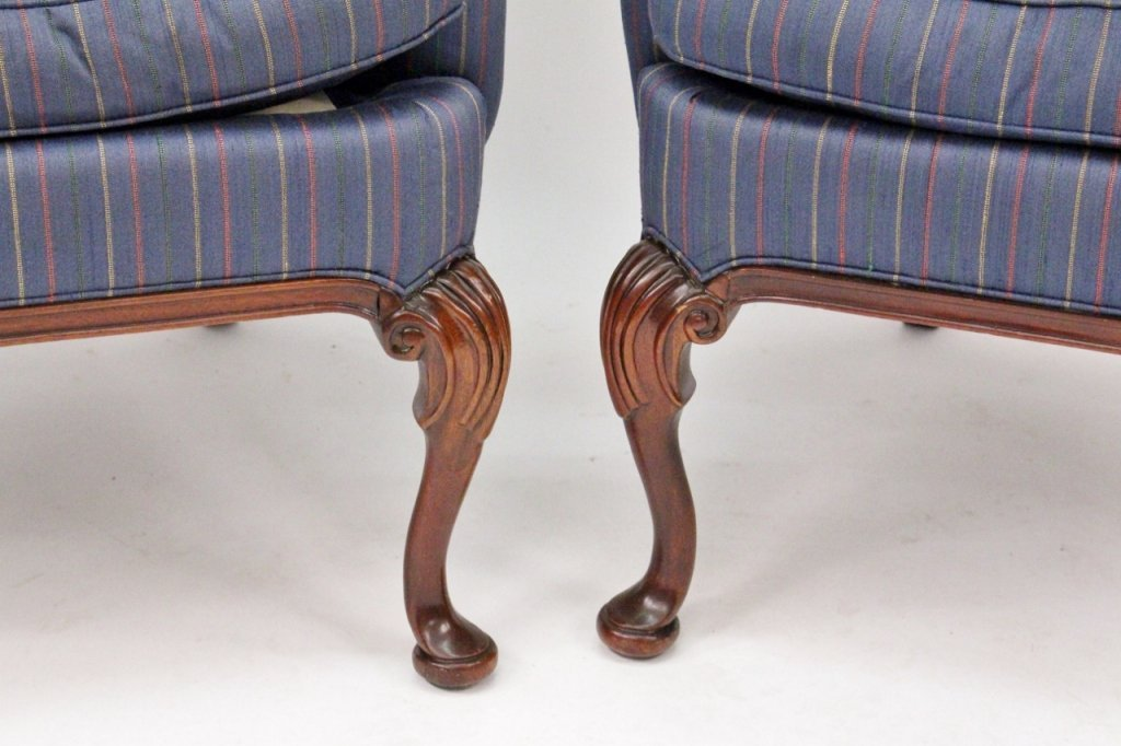 Pair of Blue Upholstered Wing Back Chairs - 2