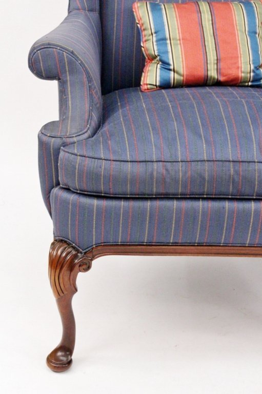 Pair of Blue Upholstered Wing Back Chairs - 3