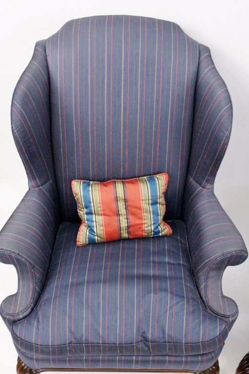 Pair of Blue Upholstered Wing Back Chairs - 4