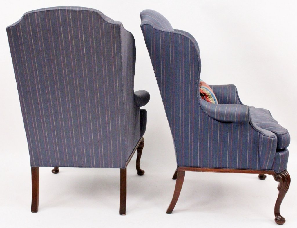 Pair of Blue Upholstered Wing Back Chairs - 6