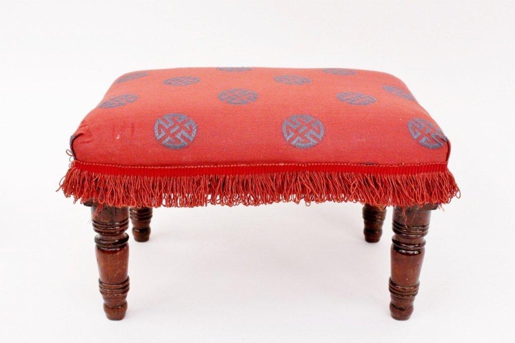 Small Turned Wood Footstool