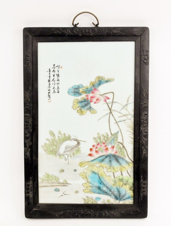 19th C. Chinese Porcelain Plaque w/Peonies