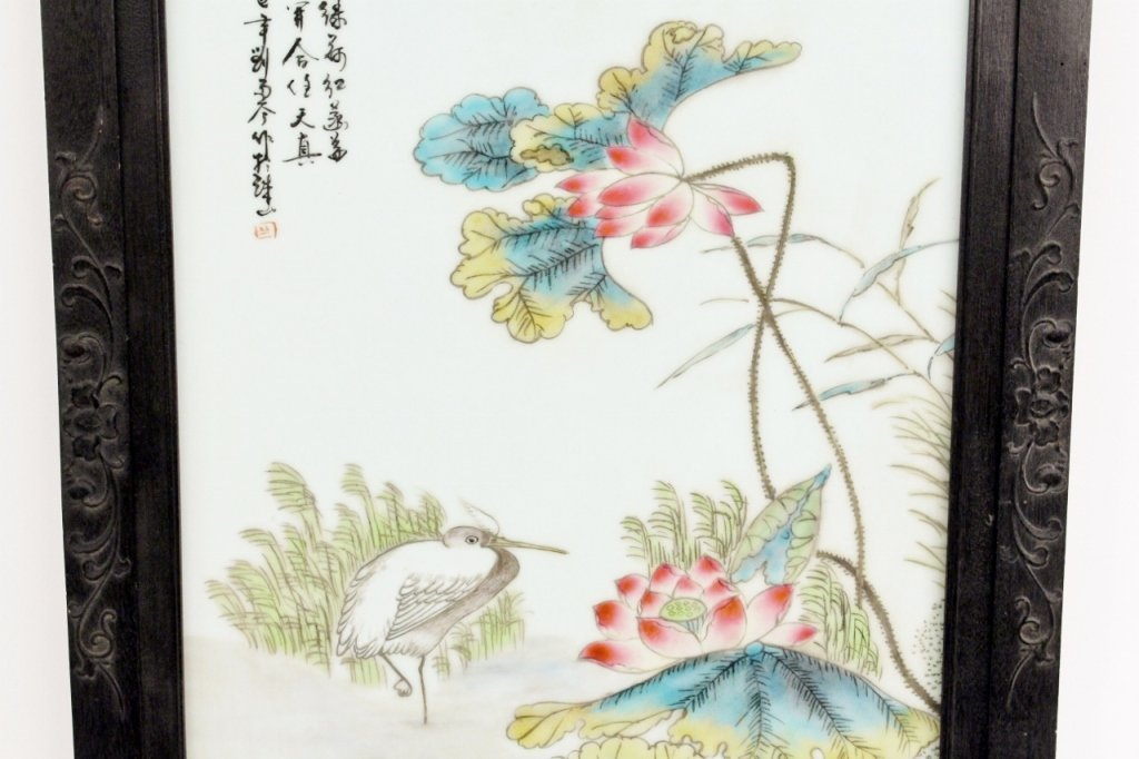 19th C. Chinese Porcelain Plaque w/Peonies - 3