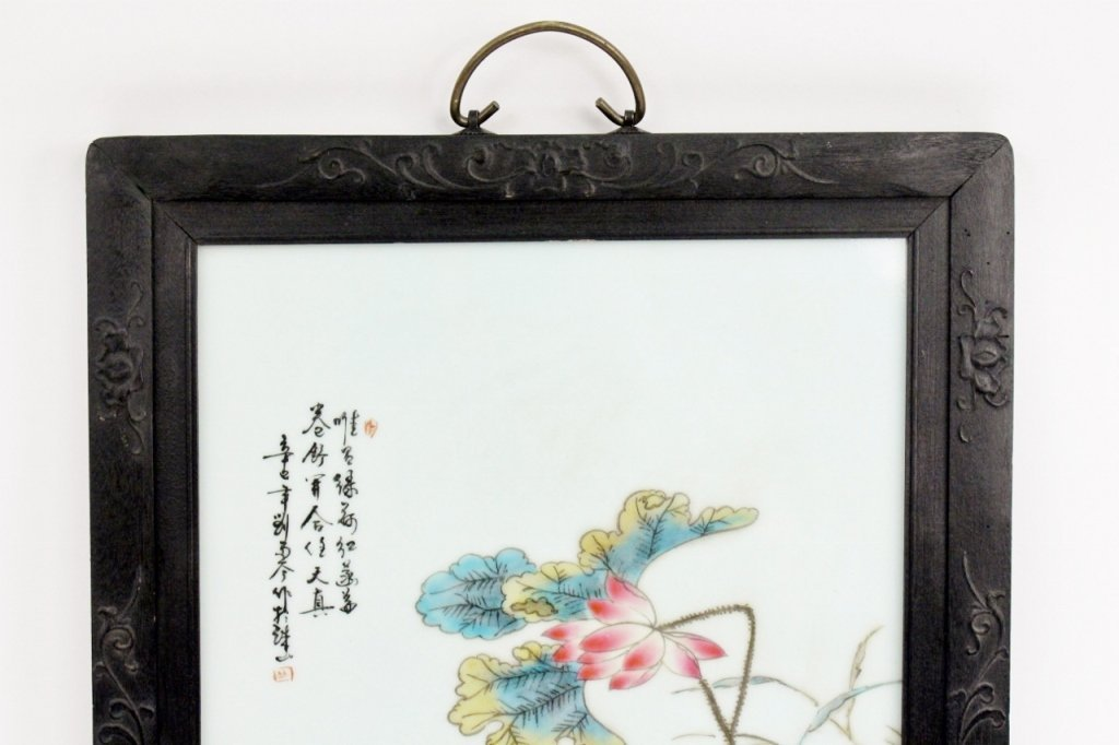 19th C. Chinese Porcelain Plaque w/Peonies - 4