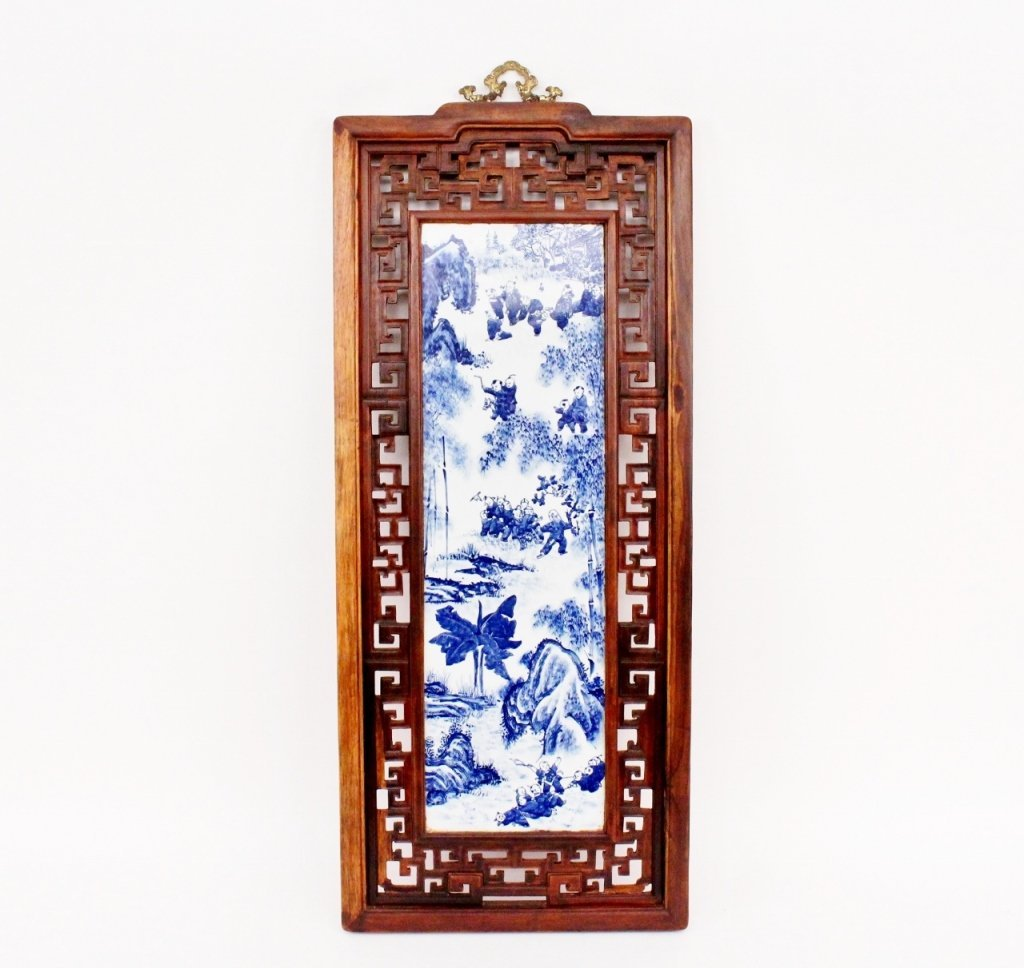 Chinese Blue & White Porcelain Plaque in Frame