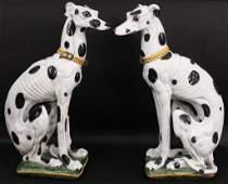 Pair of Large Italian Ceramic Dogs