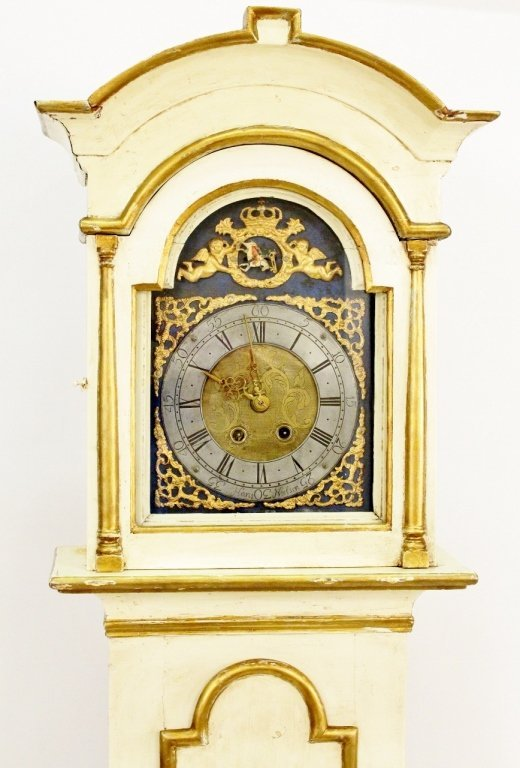 18th C. Painted Grandfather Clock - 4