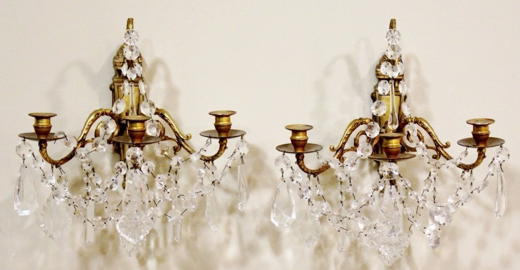 Pair of French 19th C. Bronze & Crystal Sconces