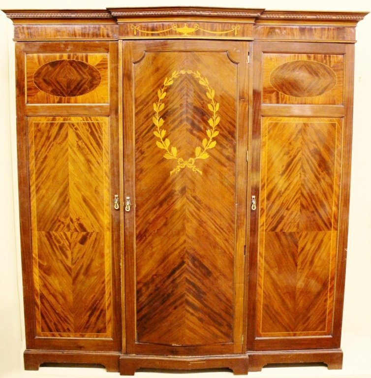 Late 19th C. Mahogany Inlaid Armorie