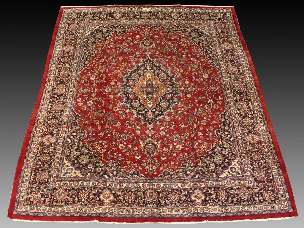 Signed Hand Woven Semi Antique Sarouk  Carpet
