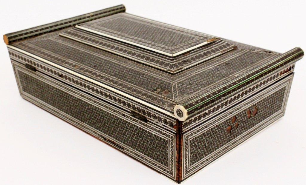 19th Century Ebonized Wood & Ivory Sewing Box - 4