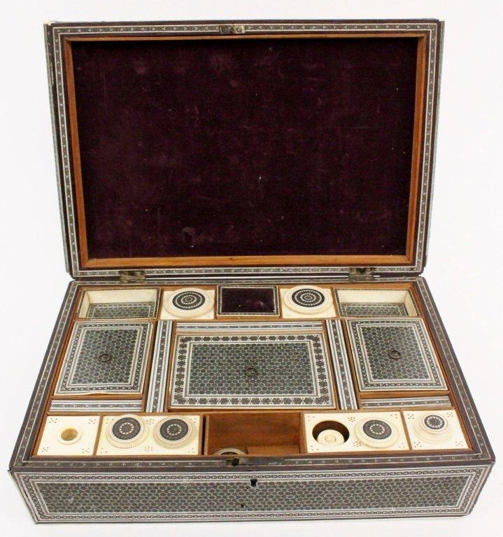 19th Century Ebonized Wood & Ivory Sewing Box - 5