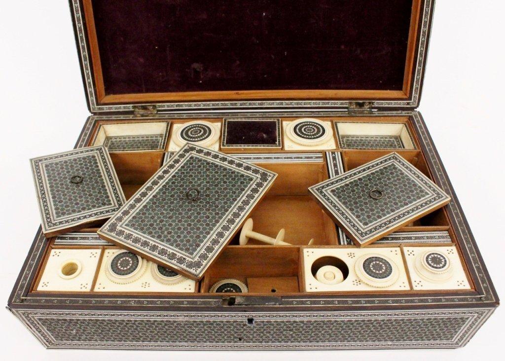 19th Century Ebonized Wood & Ivory Sewing Box - 6